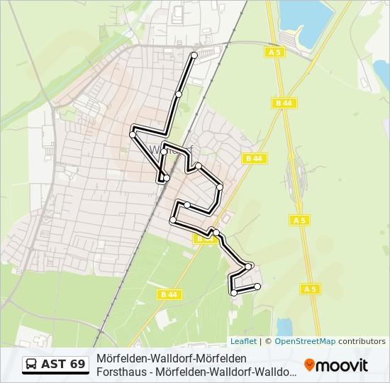 AST 69 otobüs Hat Haritası
