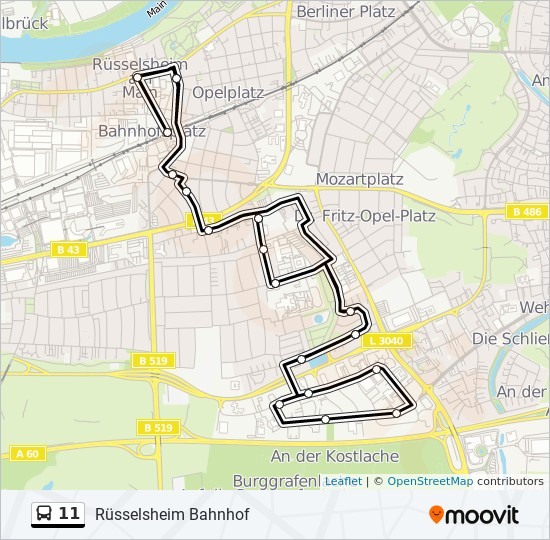 11 bus Line Map