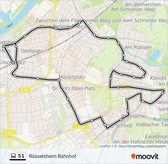51 bus Line Map
