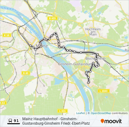 91 bus Line Map