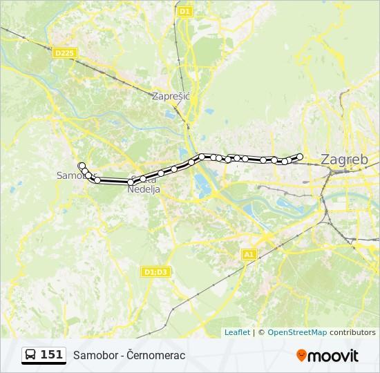 Ruta 151 Vremenski Rasporedi Stanice I Mape Samobor Cernomerac