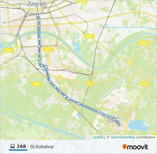 268 Route Time Schedules Stops Maps Gl Kolodvor