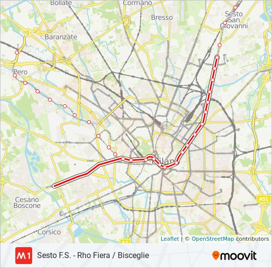 Percorso linea metro M1