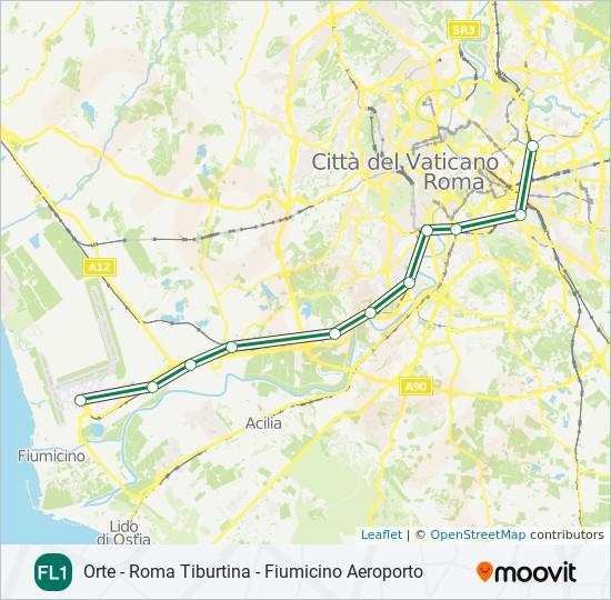 Plan de la ligne FL1 de train