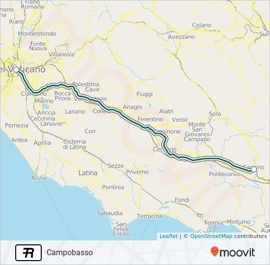 Поезд R: карта маршрута