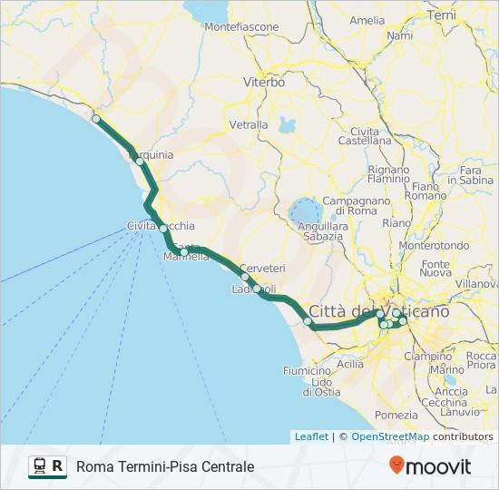 Linea R: orari, fermate e mappe - Pisa Centrale