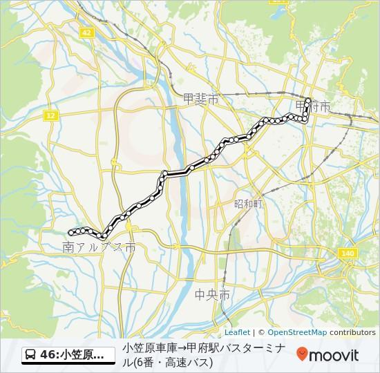 46:小笠原車庫発 甲府駅バスターミナル方面行き Route: Time Schedules ...