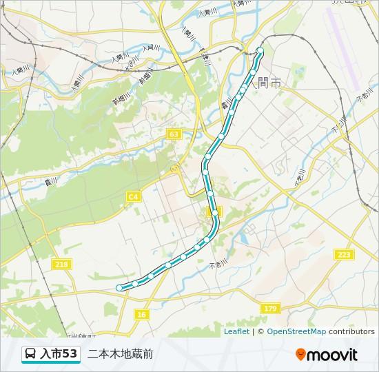 入市53 Route: Time Schedules, Stops & Maps - 二本木地蔵前