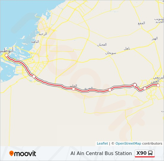X90 Route Time Schedules Stops Maps Al Ain Central Bus Station