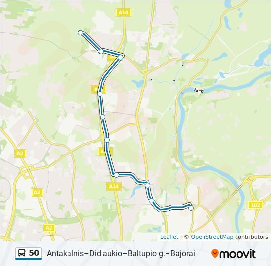 50 autobusas kelionės žemėlapis