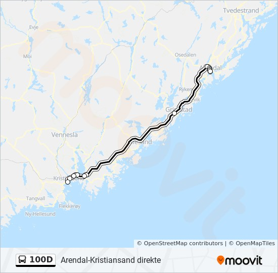 100d Route Time Schedules Stops Maps Arendal Direkte