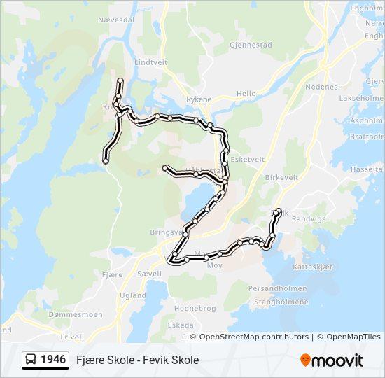 1946 Route: Time Schedules, Stops & Maps - Fjære Skole