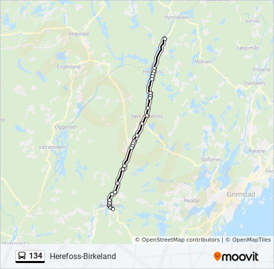 134 Rute Tidsplaner Stopper Og Kart Birkeland