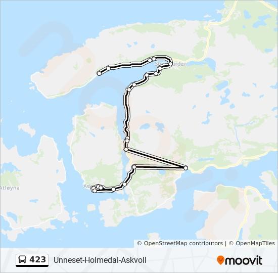 423 Rute Tidsplaner Stopper Og Kart Holmedal Askvoll