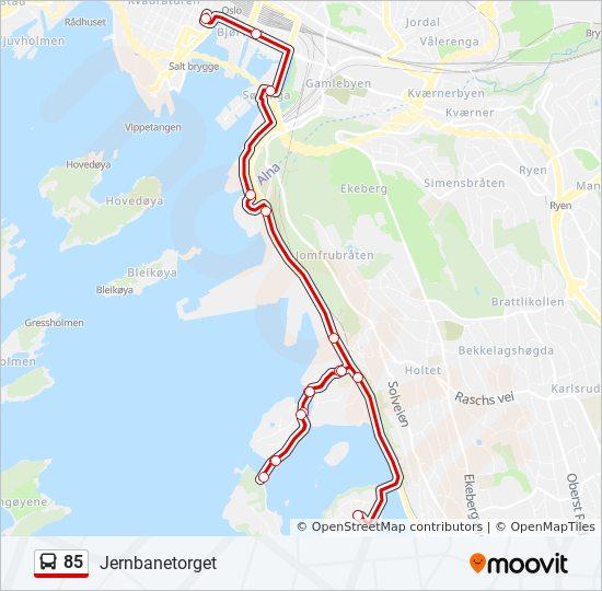 85 Rute Tidsplaner Stopper Og Kart Jernbanetorget Via Malmoya