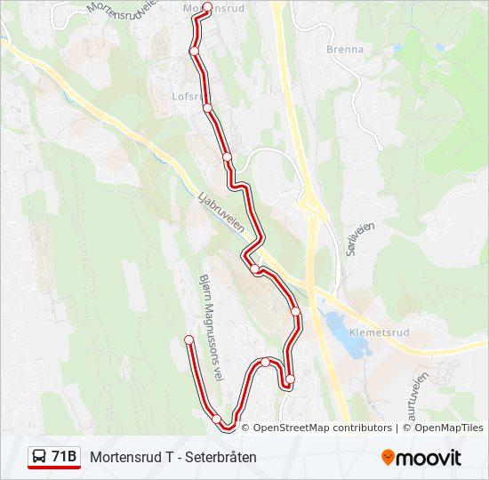 mortensrud kart 71B Rutetidtabeller, Stopp & Kart mortensrud kart