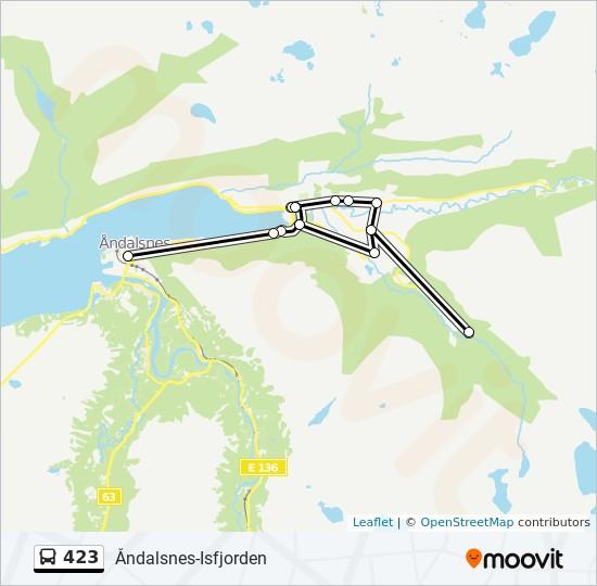 423 Rute Tidsplaner Stopper Og Kart Andalsnes Via Dalsbygda