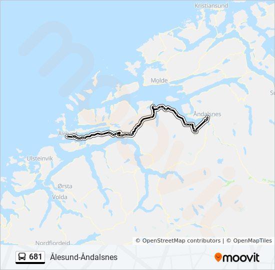 681 Rute Tidsplaner Stopper Og Kart Alesund Via Vestnes