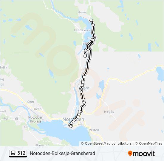 bolkesjø kart 312 Rutetidtabeller, Stopp & Kart bolkesjø kart