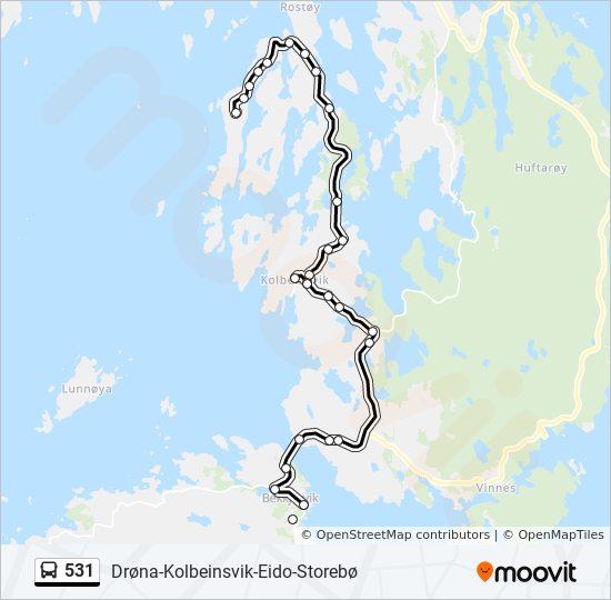 531 Rute Tidsplaner Stopper Og Kart Bekkjarvik