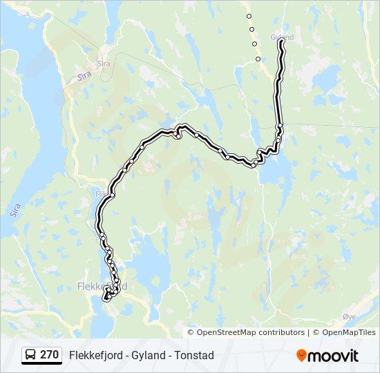 270 Rute Tidsplaner Stopper Og Kart Flekkefjord