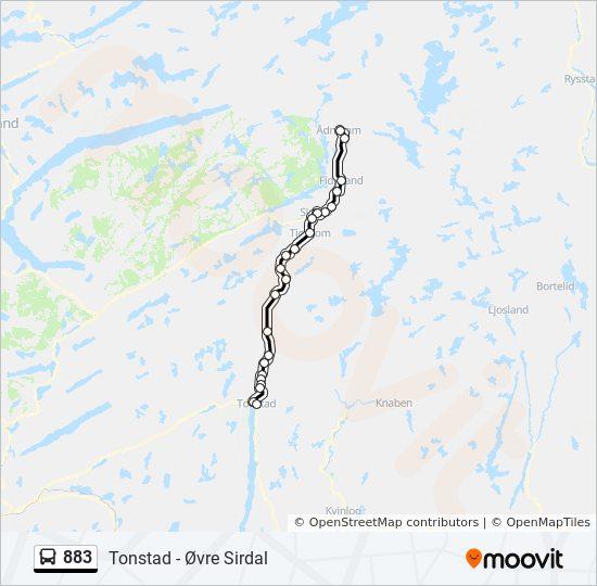 883 Rute Tidsplaner Stopper Og Kart Ovre Sirdal