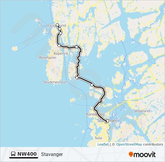 Nw400 Rute Koreplaner Stoppesteder Kort Stavanger