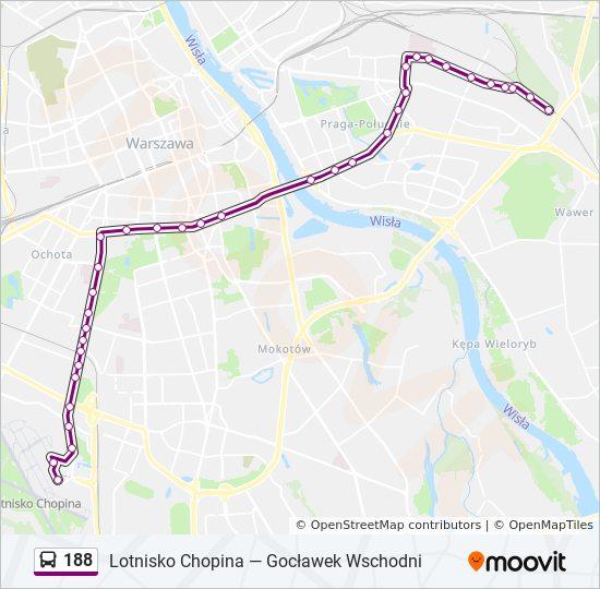 Rota Da Linha 188 Horarios Estacoes E Mapas Lotnisko Chopina