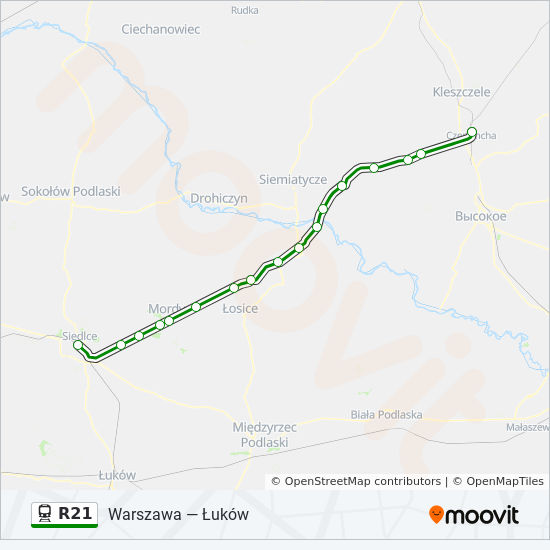 Linia R21 Rozklady Jazdy Przystanki I Mapy Siedlce