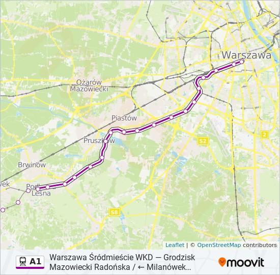 Linia A1 Rozklady Jazdy Przystanki I Mapy Warszawa Srodmiescie Wkd