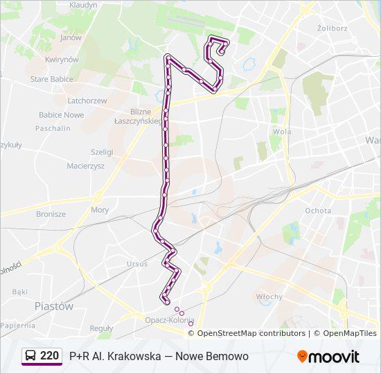 Linia 220 Rozklady Jazdy Przystanki I Mapy Nowe Bemowo