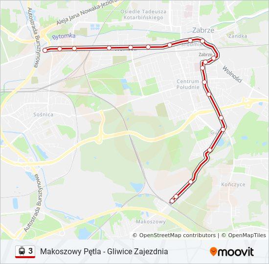 Linia 3 Rozklady Jazdy Przystanki I Mapy Gliwice Zajezdnia
