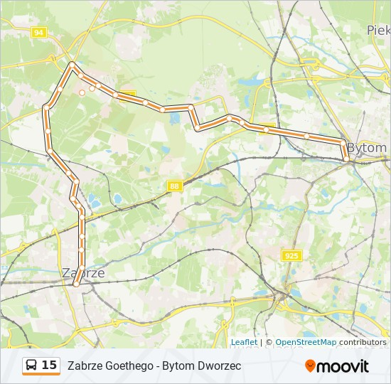 Linia 15 Rozklady Jazdy Przystanki I Mapy Zabrze Goethego