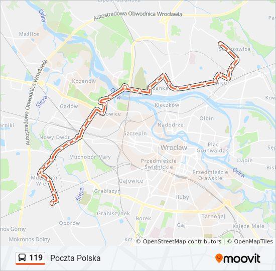 Linia 119 Rozklady Jazdy Przystanki I Mapy Poczta Polska