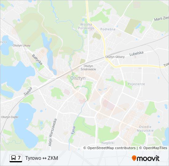 Linia 7 Rozklady Jazdy Przystanki I Mapy Tyrowo