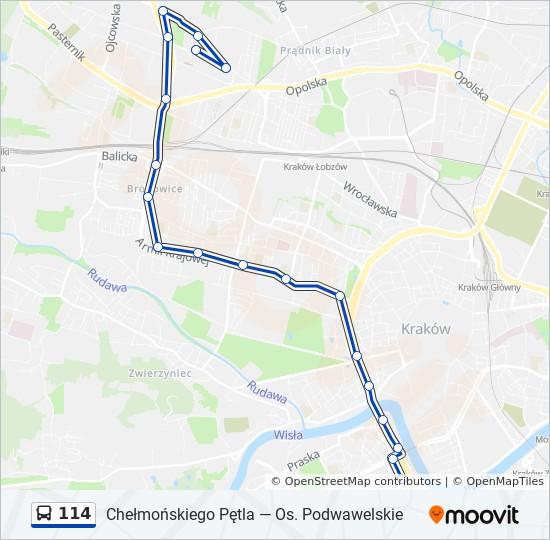 Linia 114 Rozklady Jazdy Przystanki I Mapy Chelmonskiego Petla