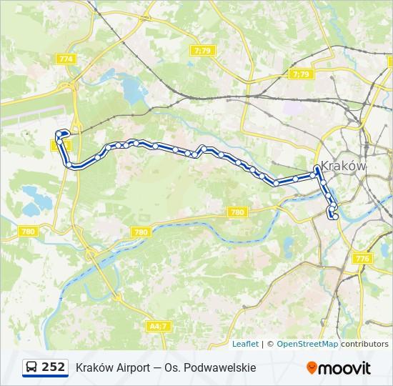 Linia 252 Rozklady Jazdy Przystanki I Mapy Krakow Airport