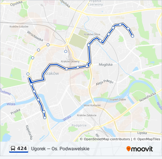 Linia 424 Rozklady Jazdy Przystanki I Mapy Os Podwawelskie