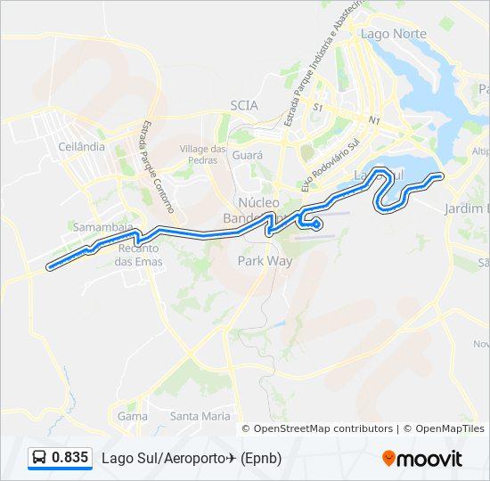 Rota da linha 0 835: horários, estações e mapas - Lago Sul