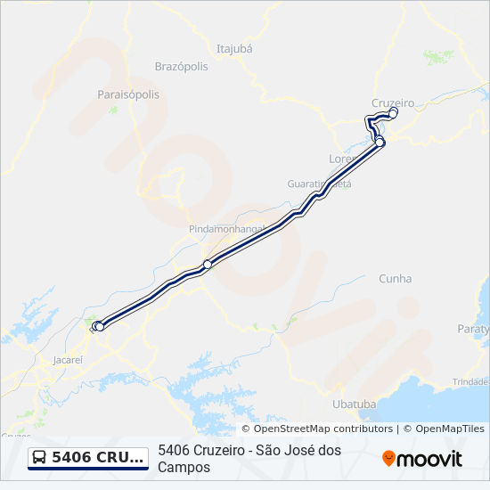 5406 CRUZEIRO - SÃO JOSÉ DOS CAMPOS เส้นทาง: ตารางเวลา, จุด