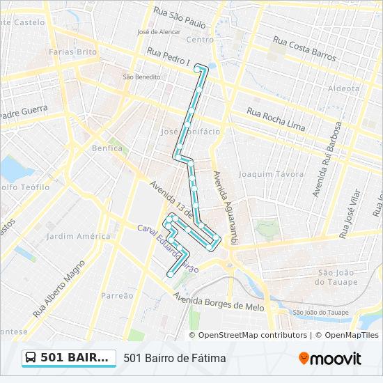 Rota Da Linha 501 Bairro De Fatima Horarios Estacoes E Mapas
