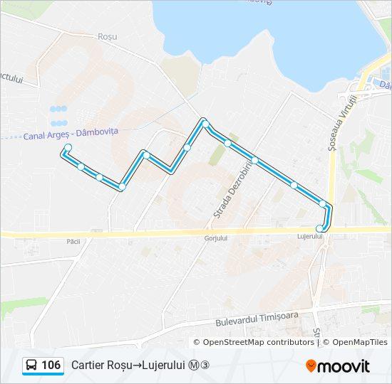 106 Ruta Orare Stații și Hărți Cartier Roșu Lujerului