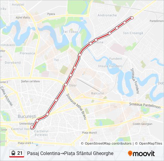 21 Ruta Orare Stații și Hărți Pasaj Colentina Piața Sfantul