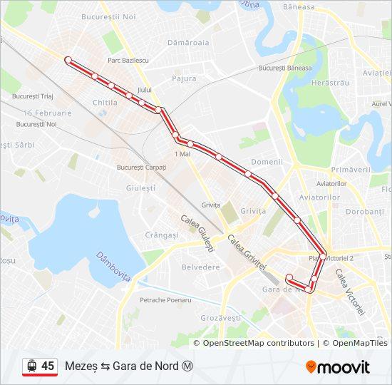 45 Route Time Schedules Stops Maps Gara De Nord Mezeș