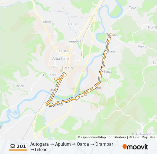 201 Ruta Orare Stații și Hărți Autogara Apulum Oarda