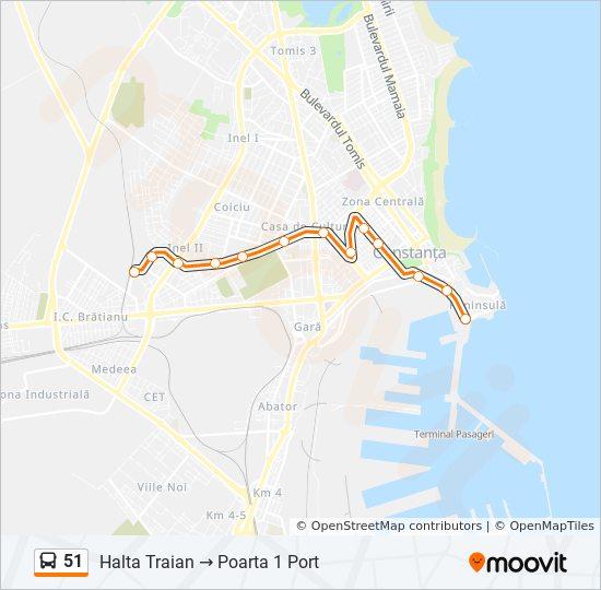 51 Route Time Schedules Stops Maps Halta Traian Poarta 1 Port