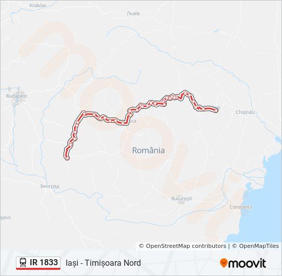 Ir 1833 Route Time Schedules Stops Maps Iași Timișoara Nord