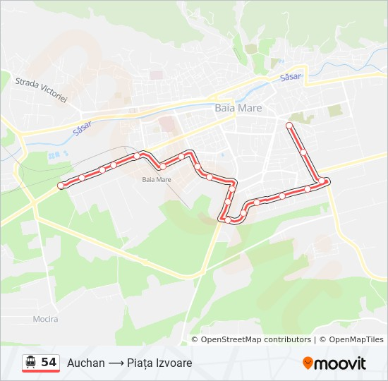 54 Ruta Orare Stații și Hărți Auchan Piața Izvoare