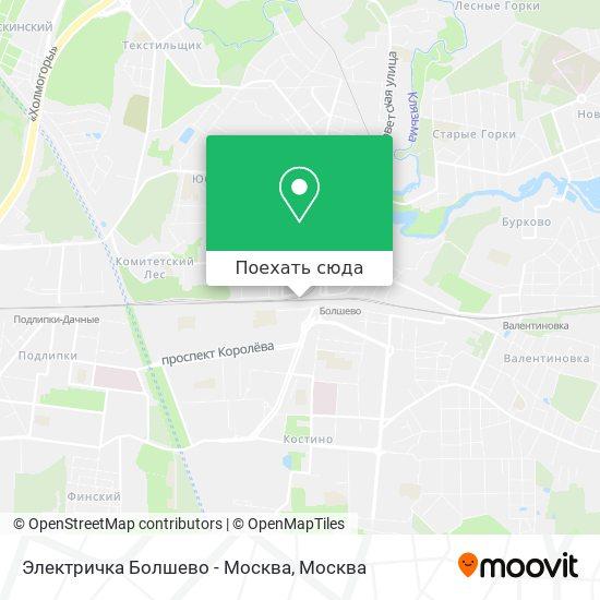 Карта Электричка Болшево - Москва