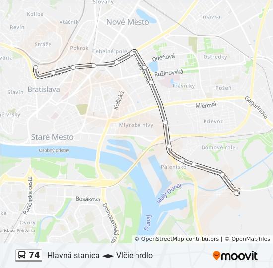74 Trasa Harmonogram Zastavky Mapy Vozovna Trnavka
